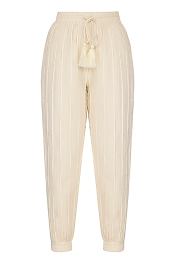 Ivory Cotton Jogger Pants by Ollari