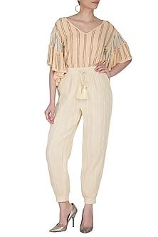 Ivory Cotton Jogger Pants by Ollari