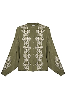Green Embroidered Top by Ollari