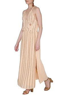 Blush Ivory Embroidered Maxi Dress by Ollari