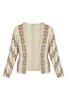 Ivory Embroidered Blazer Jacket by Ollari