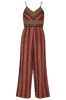 Wine Embroidered Striped Jumpsuit by Ollari