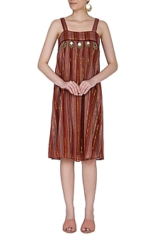 Wine Striped Knee Length Dress by Ollari