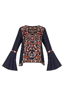 Navy Blue Embroidered Blouse by Ollari
