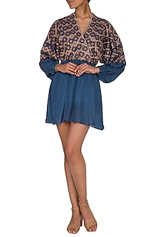 Agean Blue Embroidered Dress by Ollari