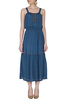 Agean Blue Embroidered Midi Dress by Ollari