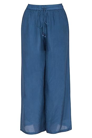 Agean Blue Wide Leg Tie-Up Pants by Ollari