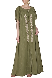 Green Embroidered Maxi Dress by Ollari