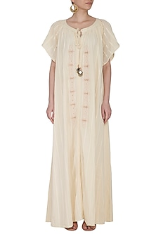Ivory Embroidered Maxi Dress by Ollari
