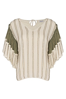 Ivory & Sage Green Hand Beaded Top by Ollari