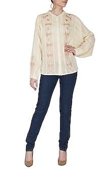 Ivory Embroidered Top by Ollari