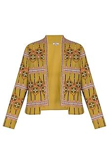 Golden Olive Embroidered Blazer Jacket by Ollari