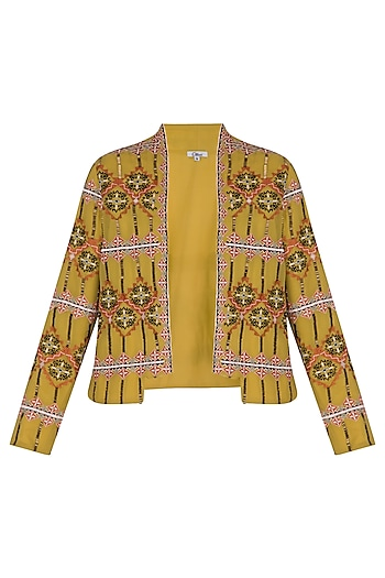 Golden Olive Embroidered Blazer Jacket by Ollari