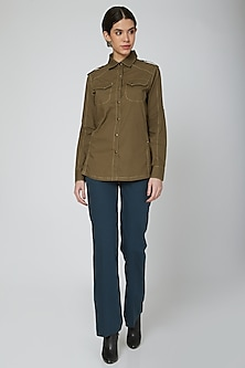 Olive Green Shirt With Stitch Lines by Our.Love