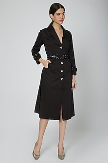 Black Embroidered Trench Dress With Belt by Our.Love