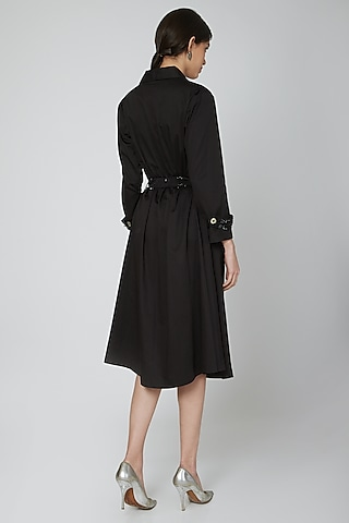 Black Embroidered Trench Dress With Belt by Our Love