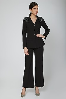 Black Moss Crepe Flared Trousers by Our.Love