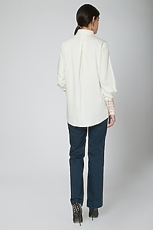 Off White Lace Embroidered Shirt by Our.Love