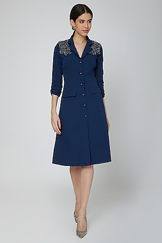 Midnight Blue Embroidered Blazer Dress by Our Love