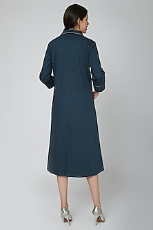 Teal Blue Cotton Twill Dress by Our.Love