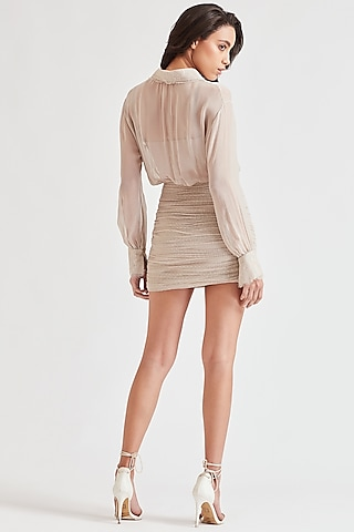 Beige Embroidered High Waist Skirt by Our Love
