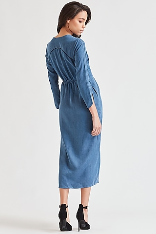 Cobalt Blue Embroidered Denim Dress by Our Love