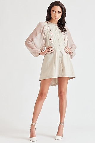Beige Embroidered High-Low Dress by Our Love