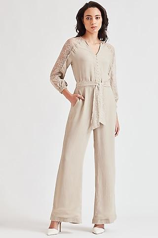 Beige Lace Applique Jumpsuit by Our Love