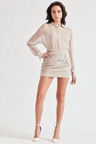 Beige Embroidered Skirt Set by Our Love