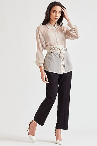 Beige Shirt With Embroidered Belt by Our Love