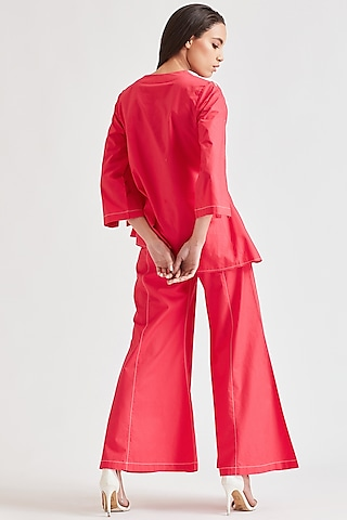 Bright Pink Top With Fringes & Belt by Our Love