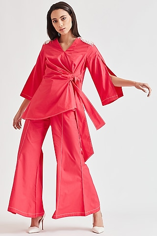 Bright Pink Pants Set With Fringes by Our Love