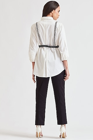 White Shirt With Embroidered Belt by Our Love