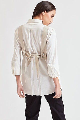 White Shirt With Embroidered Jacket by Our Love