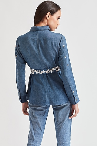 Blue Embroidered Denim Belt by Our.Love