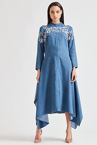 Cobalt Blue Embroidered Dress by Our Love