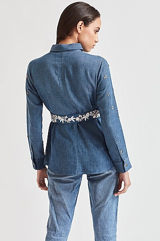 Cobalt Blue Shirt With Embroidered Belt by Our Love