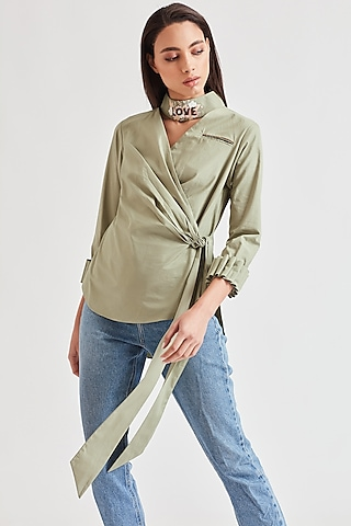 Mint Green Embroidered Top by Our Love