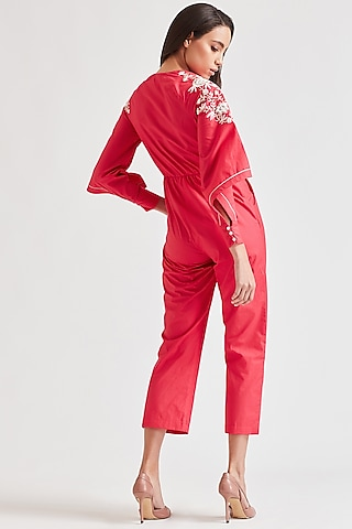 Fuchsia Embroidered Jumpsuit With Raglan Sleeves by Our Love