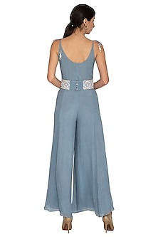Dusky Blue Jumpsuit With Embroidered Belt by Our Love