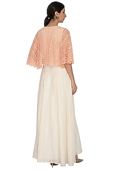 Peach Floral & Dotted Lace Maxi Dress by Our.Love