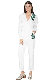 White Printed Embroidered Jumpsuit by Our.Love