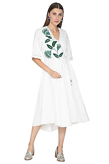 White Printed Embroidered Midi Dress by Our.Love