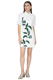 White Printed Embroidered Mini Shirt Dress by Our.Love