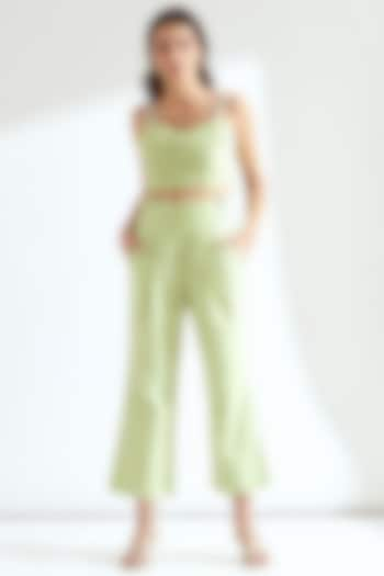 Tea-Green Ruched Crop Top by Our Love