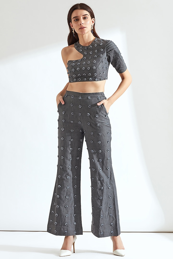 Grey Floral Embroidered Crop Top by Our Love