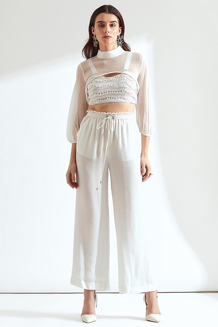 White Embroidered Bralette With Half Cape by Our Love
