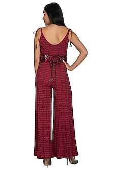 Fuchsia Jumpsuit With Embellished Belt by Our.Love