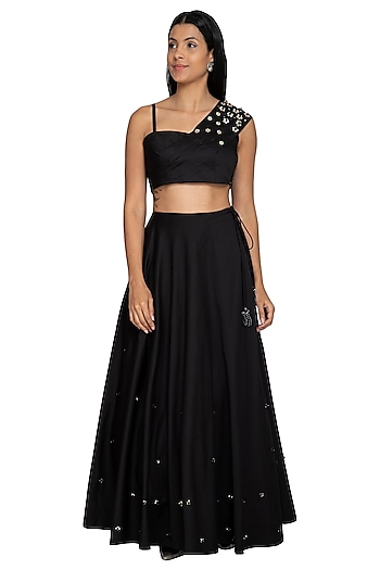 Black Embroidered Draped Crop Top With Skirt by Our.Love