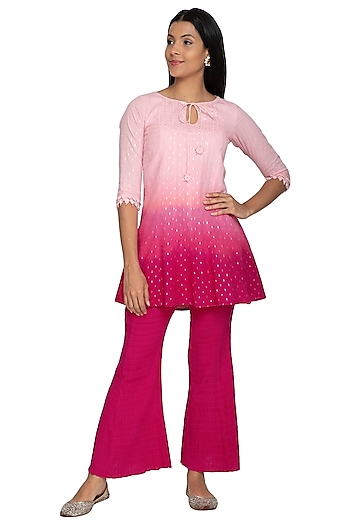 Pink Ombre Tunic With Flared Pants by Our.Love